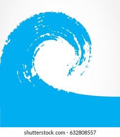 Grunge surfing icon. Vector brush wave.
