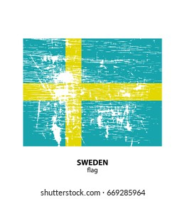 Grunge Sweden flag isolated on white background. Design element for flyers or banners.