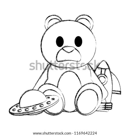 Grunge Teddy Bear Rocket Ufo Toys Stock Vector Royalty Free