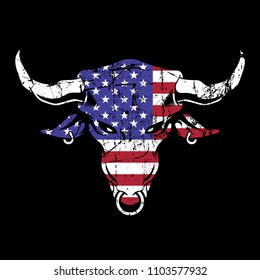 Grunge texture of bull head or cow with usa flag. suitable for print, merchandise, t-shirt, poster.