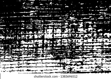 Grunge texture of charred wood board. Monochrome urban background with halftone effect, spots, stripes, noise and grit. Overlay template. Vector illustration