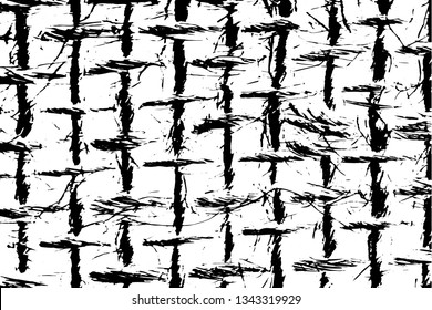 Grunge texture close-up of natural burlap fibers. Monochrome background of macro threads of coarse fabric. Rope grid. Overlay template. Vector illustration