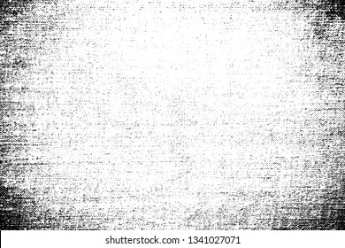 Grunge texture cotton fabric with vignetting and halftone. Monochrome background of the old coarse cloth with the noise, dotted line, dots and grit.  Overlay template. Vector illustration