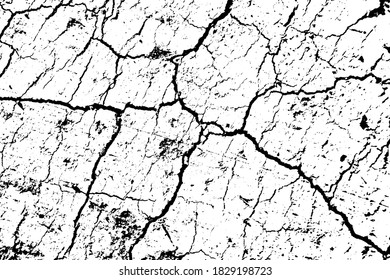 Grunge texture of cracked soil. Monochrome background of a dry desert surface with cracks, spots and noise. Overlay template. Vector illustration