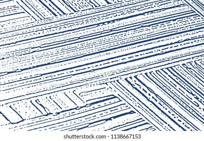 Grunge texture. Distress indigo rough trace. Enchanting background. Noise dirty grunge texture. Bizarre artistic surface. Vector illustration.