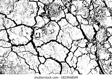 Grunge texture of dry cracked soil. Monochrome background of natural erosion of the earth's surface with spots, noise and grain. Overlay template. Vector illustration