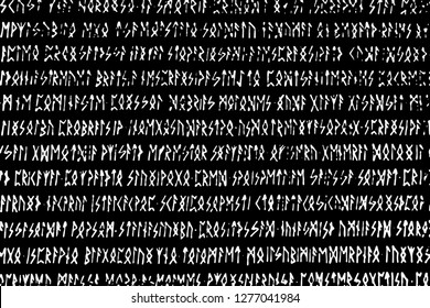 Grunge texture of half-erased ancient magical white runes on black background. Hand-written esoteric occult spell manuscript. Vector EPS10 illustration