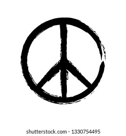 Grunge texture hippie round peace black sign.