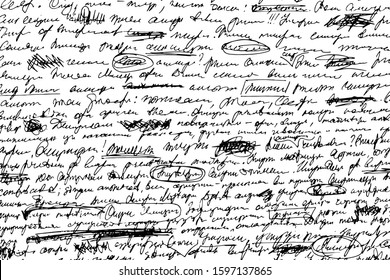 Grunge texture illegible hand-written draft. Monochrome background ink-written unreadable notes with corrections, the deletions, underscores and uneven lines. Overlay template. Vector illustration