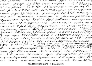 Grunge texture of old shabby handwritten notes. Monochrome background of illegible sloppy handwriting with numbers and calculations. Overlay template. Vector illustration