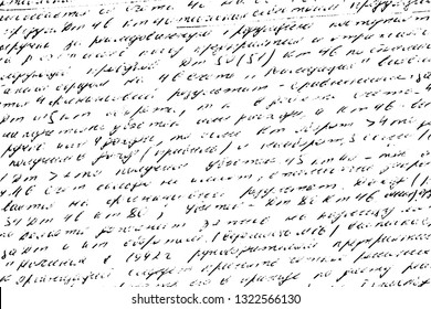 Grunge texture of old unreadable shabby handwriting. Monochrome background of illegible handwritten notes with numbers. Overlay template to quickly create a grunge effect. Vector illustration