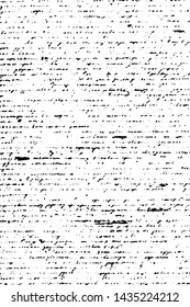 Grunge texture of old unreadable writing. Monochrome background of illegible handwriting with strikethrough words, spots and noise. Overlay template. Vector illustration