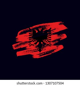 Grunge textured Albanian flag. Vector brush painted flag of Republic of Albania isolated on dark blue background. Frayed and scratched the national symbol of the European country
