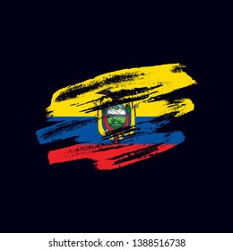 Grunge textured Ecuadorian flag. Vector brush painted flag of Republic of Ecuador isolated on dark blue background. Frayed and scratched the national symbol of the South America country