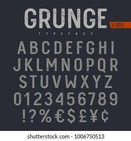 Grunge textured font. Rough stamp textured typeface. Latin alphabet letters and numbers.