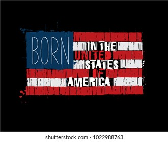 """Grunge Textured Illustration of the phrase """"Born in the USA"""" depicted as an American Flag. Custom Lettering"""