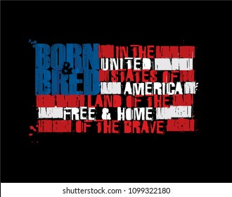 """Grunge Textured Illustration of the phrase """"Born and Bred in the USA Land of the Free Home of the Brave""""  depicted as an American Flag. Custom Lettering"""
