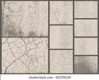 Grunge textures set. Old leather texture. Desert ground effect. Vector backgrounds. Collection of 9 grunge abstract surfaces.
