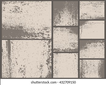 Grunge textures set. Rust old metal texture. Vector backgrounds. Collection of 9 grunge abstract surfaces.