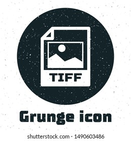 Grunge TIFF file document. Download tiff button icon isolated on white background. TIFF file symbol.  Vector Illustration