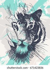 Grunge tiger under leaves. Vintage wild cat in jungle. Retro tropical animal. Vector