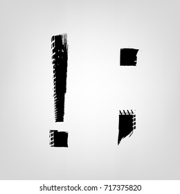 Grunge tire glyphs. Exclamation point, semicolon. Unique off road isolated lettering in a black colour on a light grey background. Vector illustration. Creative typography collection.
