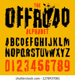 Grunge tire letters and figures. Off road lettering in a black colour isolated on yellow background. Editable vector illustration. Grunge typography useful for automotive poster, print, leaflet design