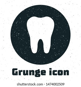 Grunge Tooth icon isolated on white background. Tooth symbol for dentistry clinic or dentist medical center and toothpaste package.  Vector Illustration