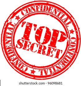 Grunge top secret rubber stamp, vector illustration