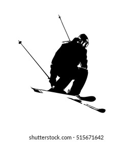 Grunge tracing silhouette of single mountain skier isolated on a white background. Vector illustration
