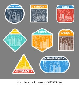 grunge travel sticker city icon set. london, new york, paris, tokyo, sydney, dubai, italy, hong kong. travel suitcase sticker badges. with thin line city icons