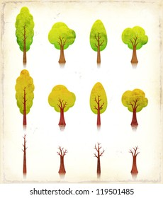 Grunge Trees Icons Set/ Illustration of a set of vintage grunge textured cartoon simple trees icons, in spring and summer, autumn and winter season