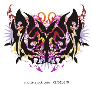Grunge tribal colorful butterfly wings. The dangerous butterfly formed by the lion's heads in orange-violet tones