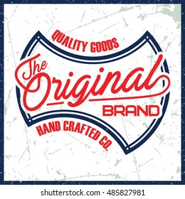 "Grunge t-shirt graphic design, grunge print stamp ""The Original"", vector"