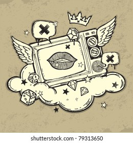 Grunge TV design. Original graffiti art style design. New school tattoo. Hand-drawn vector images. Good for printing on t-shirt. Easy to edit. EPS8 file. Vintage colors.