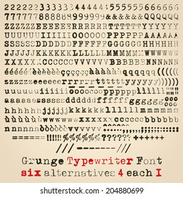 Grunge typewriter font. Six alternatives for each glyph