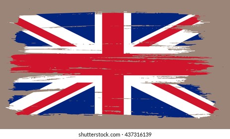 Grunge UK flag.Old British flag.Vector template.