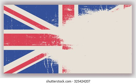 Grunge UK flag.British flag with grunge texture.Vector template.