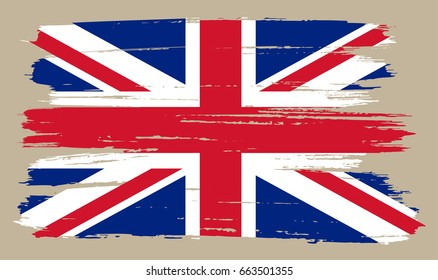 Grunge UK flag.Vector British flag.