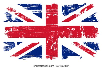 Grunge UK flag.Vector vintage British flag.