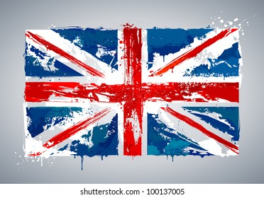 Grunge UK national flag. Vector illustration.
