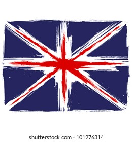 Grunge Union Jack flag over white background