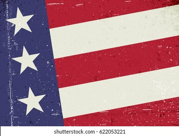 Grunge United States of America flag. Abstract American patriotic background. Vector grunge illustration, A4 format