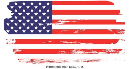Grunge USA Flag.  American flag brush paint texture.Vector illustration