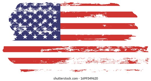 Grunge USA Flag. American flag brush paint texture. Distressed Us symbol, Vector Illustration for Celebration Holiday 4 of July American President Day, star and stripes