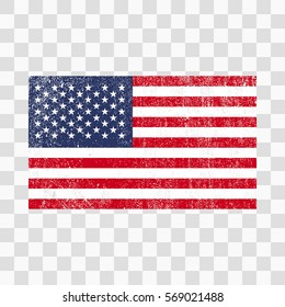 Grunge USA flag. American flag with distress texture.Vector template. on transparent background