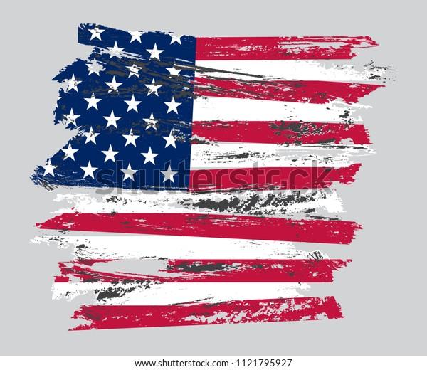 Grunge USA flag. American flag.Vector illustration.
