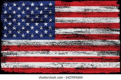 Grunge USA flag.Old dirty American flag.