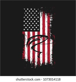 Grunge USA Flag Fishing Vector Shirt Printing