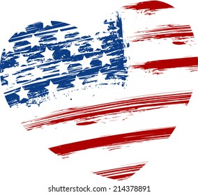 Grunge USA flag - splattered star and stripes in heart shape
